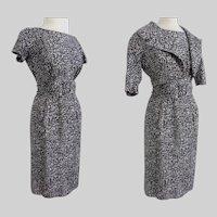STYLISH 1950s Dress | Black & White | Abstract Print | Label I. Magnin | Matching Bolero Jacket