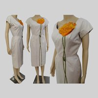 Vintage 1950s Dress / Syano of California /50s Wiggle Dress /Floral Ornamentation /