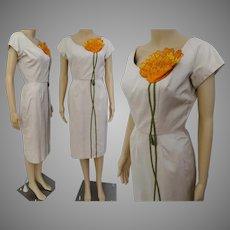 Vintage 1950s Dress / Syano of California /50s Wiggle Dress /Floral Ornamentation /