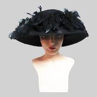 Vintage Large Brim Hat / 60s Black Hat / Betmar of New York