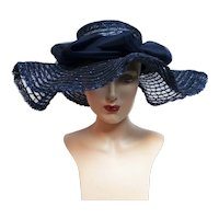 Vintage 1940s Large Brim Hat / Navy Blue Hat / Ruffled Brim