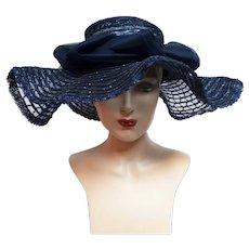 Vintage 1940s Large Brim Hat / Navy Blue Hat / Ruffled Brim