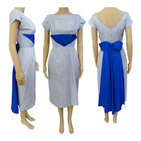 Vintage 1950s Dress//Pale Blue//Royal Blue Drape//50s Wiggle Dress//