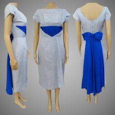 Vintage 1950s Dress//Pale Blue//Royal Blue Drape//50s Wiggle Dress//
