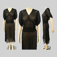 Vintage 1940s Dress | Black | 40s Dress | Sheer | Dolman Sleeves