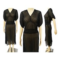 Vintage 1940s Dress | Black | 40s Dress | Sheer | Dolman Sleeves