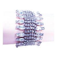 Big Rhinestone Bracelet / 1940s Clear Sparkling Rhinestone Bracelet