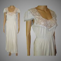 Vintage 1940s Gown .  Lace .  Rayon .  Light Blue .  Sensuous Steampunk Art Deco