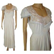 Vintage 1940s Gown .  Lace .  Rayon .  Light Blue .  Sensuous Steampunk Art Deco