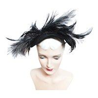 Vintage 1940s Hat | Black | 40s Original Hat | Feathers |