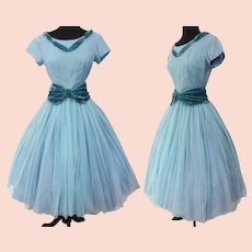 Vintage 1950s Dress | 50s Blue Chiffon Dress | Aqua Velvet Dress | Full Skirt | Rockabilly | 1950s Cocktail Dress | 50s Party Dress