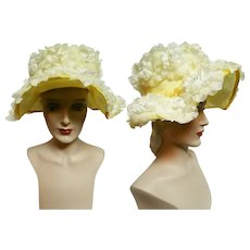 Vintage 1950s Hat// Yellow Floral// Tags Attached// NOS