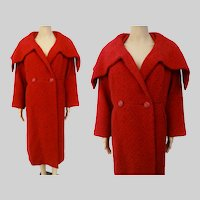 Vintage 1950s Coat | Red | Ben Zuckerman | Huge Shawl Collar | 50s Coat