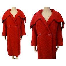 Vintage 1950s Coat | Red | Ben Zuckerman | Huge Shawl Collar | 50s Coat