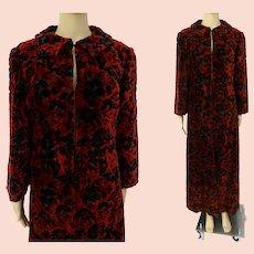 Vintage 1950s Coat - Chenille Texture - Red & Black - 50s Coat - Opera Coat