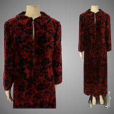 Vintage 1950s Coat - Chenille Texture - Red & Black - 50s Coat - Opera Coat
