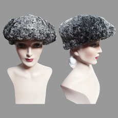 Vintage Curly Lamb Hat | 1960s Hat | Silver | 60s Silver Curly Lamb Hat