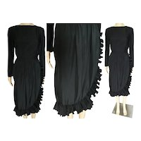 Vintage 1960s Dress | Victor Costa Dress | Black | Accordian Pleated Ruffling | 60s Dress