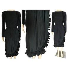 Vintage 1960s Dress | Victor Costa Dress | Black | Accordian Pleated Ruffling | 60s Dress