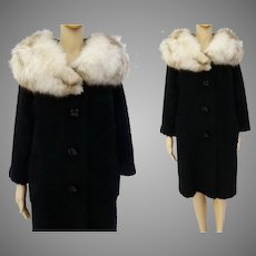 Vintage 1950s Coat | Huge Fox Fur Collar | Black | Kronenfeld Furs | 50s Coat