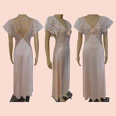 1950s Nightgown | Peach | Lace | Chiffon | Val Mode