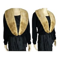 Vintage 1950s Cardigan   50s Black 100% Virgin Cashmere Sweater Mink Collar   Dalton