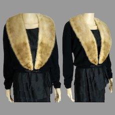 Vintage 1950s Cardigan | 50s Black 100% Virgin Cashmere Sweater Mink Collar | Dalton