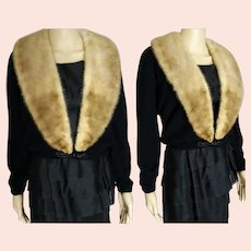 Vintage 1950s Cardigan | 50s Black 100% Virgin Cashmere Sweater Mink Collar | Dalton