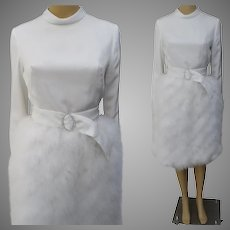 Vintage 1960s Dress | Original Jr. Theme New York | Creme Ostrich Feathers | 60s Dress | Party Dress