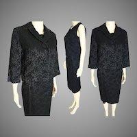 Vintage 1950s Black Gabardine Wool Suit 3 PC Custom Made by Clara Klein