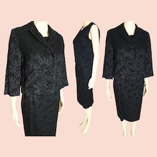Vintage 1950s Black Gabardine Wool Suit 3 PC Custom Made by Clara Klein