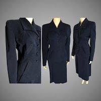 1940s Suit // Franklin Simon Gabardine Suit // vintage 40s suit // Navy Blue