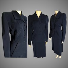 1940s Suit // Franklin Simon Gabardine Suit // vintage 40s suit // Navy Blue