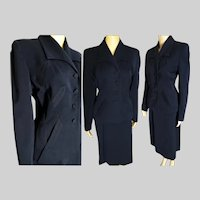 Vintage 1940s Suit // Franklin Simon Gabardine Suit // vintage 40s suit // Navy Blue