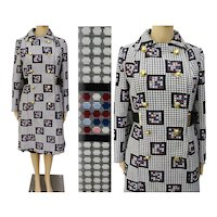 Vintage 1950s Coat//Double Breasted Colorful NOS Coat//Wonder Weather //Rockabilly//Mid Century//Mod