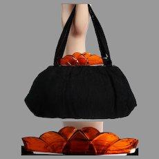 Vintage 1940s Purse / Lucite Clasp / Black / 40s Handbag