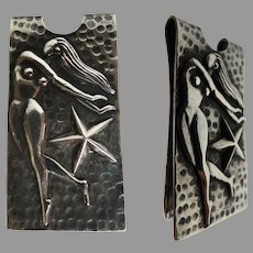 Sterling Silver Money Clip, Nude Pinup Vintage, 1970s