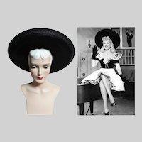 Vintage 1940s Large Brim Hat / 40s Black Hat /