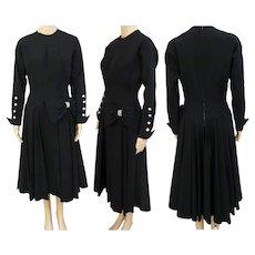 "Vintage 1940s Dress | Black | Rhinestone Accents | Designer Dale Lynn | 40s Party Dress | Waist 27"""