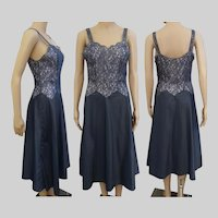 "Vintage 1940s Rayon Slip | Dark Silver | Colette Barbizon | 40s Rayon Slip | Waist 27"""