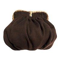 Vintage 1940s Brown Purse / Shirred Brown Wool / 40s Purse