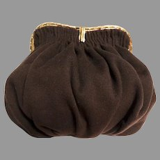 Vintage 1940s Brown Purse / Shirred Brown Wool / 40s Purse