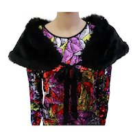 1990s Black faux fur wrap / shawl / bridesmaid cape / bolero / lining satin / 90s Faux Fur Stole / Size S