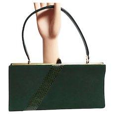 Vintage 1950s Hunter Green Purse Top Handle Bag Faux Green Alligator
