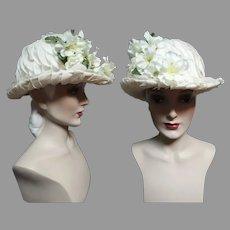 Vintage 1950s Hat / Rolled Brim / Creme / Floral / 50s Hat