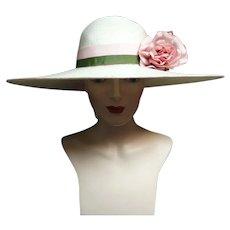 Vintage 1940s Large Brim Hat / Creme / 40s Large Brim Hat / Bellini of New York
