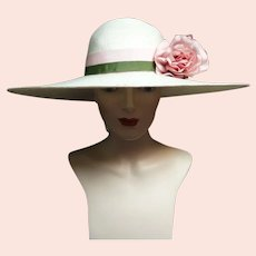 Vintage 1940s Large Brim Hat / Creme / 40s Large Brim Hat / Bellini of New York