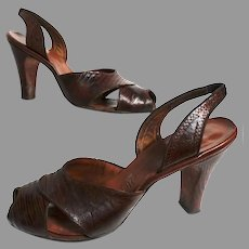 1940s Heels | Brown Lizard Shoes | 40s Slingbacks | Open Toe