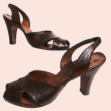 1940s Heels | Brown Lizard Shoes | 40s Slingbacks | Open Toe