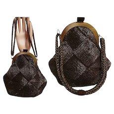 Vintage 1940s Purse / Brown / 40s handbag / Ornate Design / Unique Shape